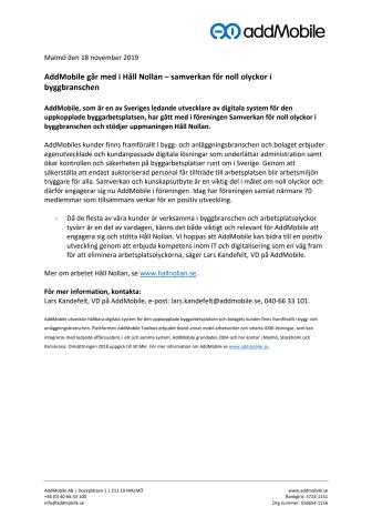 AddMobile går med i Håll Nollan – samverkan för noll olyckor i byggbranschen