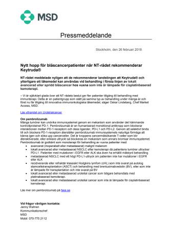 Nytt hopp för blåscancerpatienter när NT-rådet rekommenderar Keytruda®