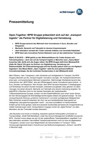 """Open.Together: BPW Gruppe präsentiert sich auf der """"transport logistic"""" als Partner für Digitalisierung und Vernetzung"""