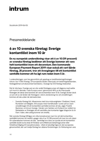 6 av 10 svenska företag: Sverige kontantlöst inom 10 år
