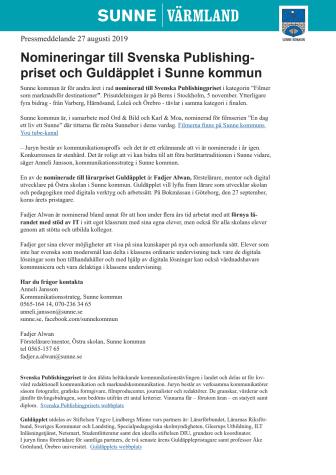 Nomineringar till Svenska Publishingpriset och Guldäpplet i Sunne kommun