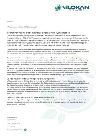 Svensk reningsinnovation minskar avfallen inom flygbranschen.
