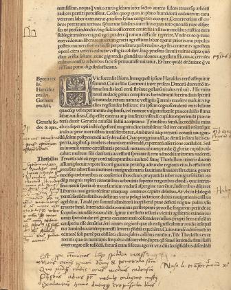Sida ur Gesta Danorum med rikliga anteckningar