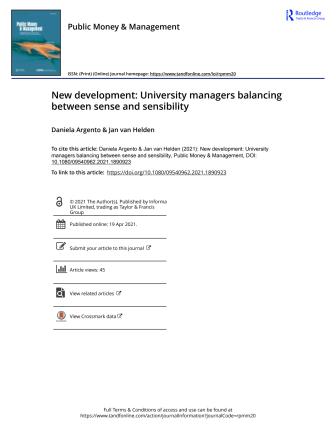 New development - University managers balancing between sense and sensibility