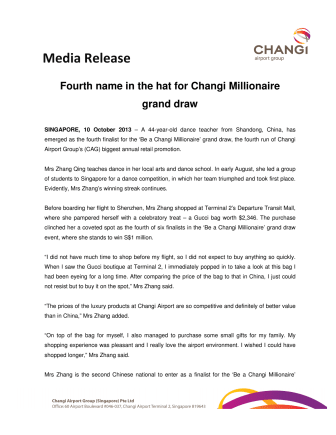 Fourth name in the hat for Changi Millionaire grand draw