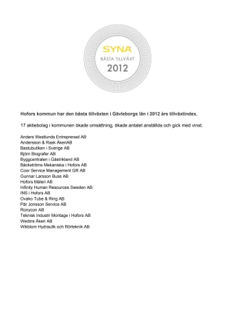 Företagsdiplom i Hofors kommun. Bästa Tillväxt 2012.