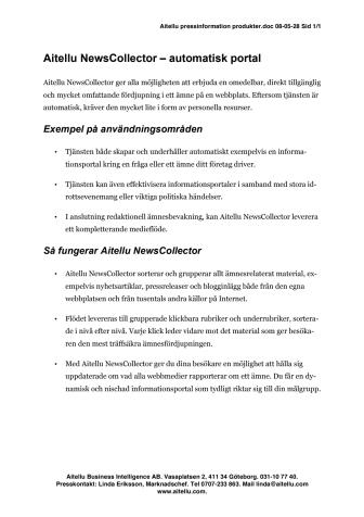 Aitellu NewsCollector produktbeskrivning pdf