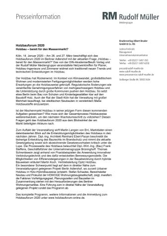Holzbauforum 2020: Holzbau – bereit für den Massenmarkt?