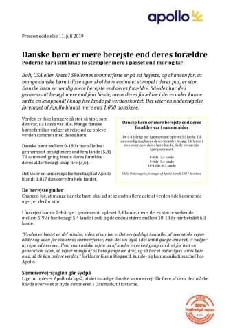 Danske børn er mere berejste end deres forældre