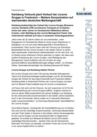 Karlsberg Verbund plant Verkauf der Licorne Gruppe in Frankreich – Weitere Konzentration auf wachsendes deutsches Markengeschäft