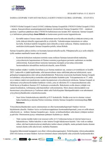Tiedote Saimaa Geopark vahvasti matkalla kohti Unesco statusta JULKAISUVAPAA 15.12. klo 9.pdf