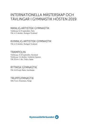 Världscuper och mästerskap i gymnastik hösten 2019