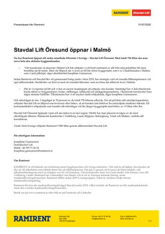 Stavdal Lift Öresund öppnar i Malmö