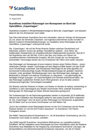 """Scandlines installiert Rotorsegel von Norsepower an Bord der Hybridfähre """"Copenhagen"""""""