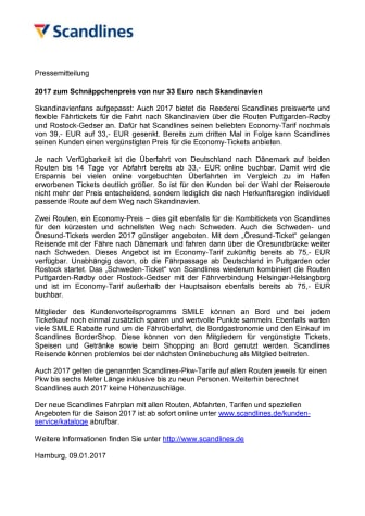 2017 zum Schnäppchenpreis von nur 33 Euro nach Skandinavien