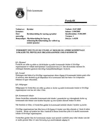 Forskrift for utleie av lokaler i Oslo kommune