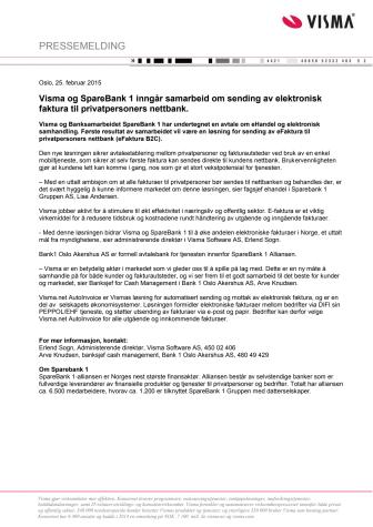 Visma og SpareBank 1 inngår samarbeid om sending av elektronisk faktura til privatpersoners nettbank