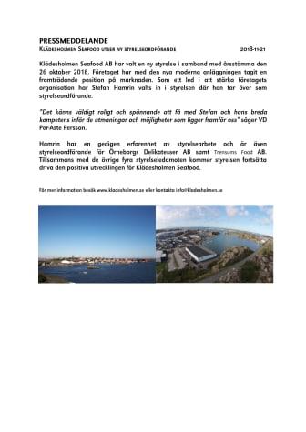 Klädesholmen Seafood utser ny styrelseordförande