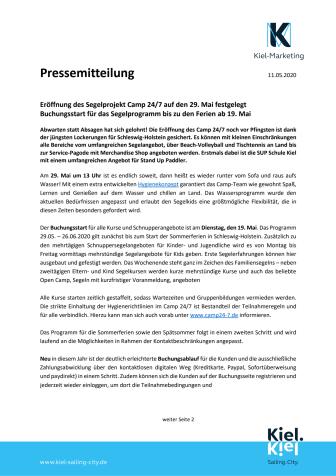 Leinen los! Das Segelprojekt Camp 24/7 in Kiel eröffnet am 29. Mai 2020.