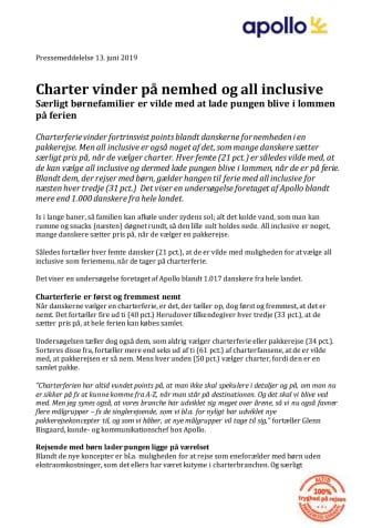 Charter vinder på nemhed og all inclusive