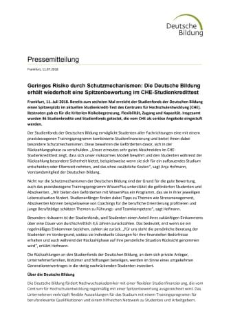 Geringes Risiko durch Schutzmechanismen: Die Deutsche Bildung erhält wiederholt eine Spitzenbewertung im CHE-Studienkredittest
