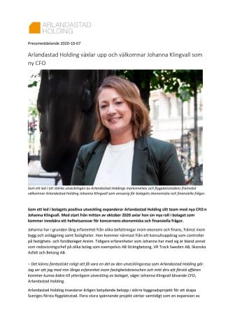 Arlandastad Holding växlar upp och välkomnar Johanna Klingvall som ny CFO