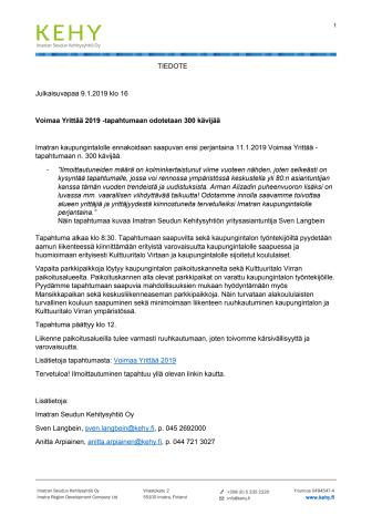 VOIMAA YRITTÄÄ -TAPAHTUMAAN ODOTETAAN AINAKIN 300 KÄVIJÄÄ