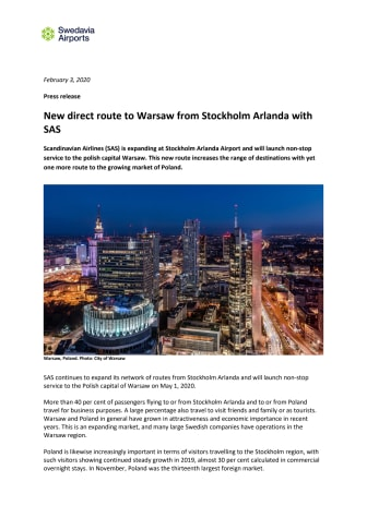 New direct route to Warsaw from Stockholm Arlanda with SAS