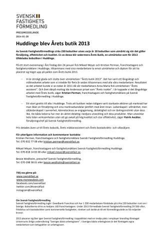 Huddinge blev Årets butik 2013