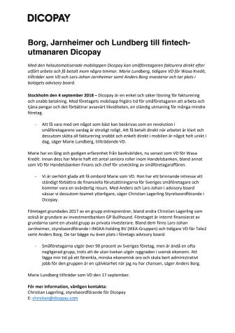Borg, Jarnheimer och Lundberg till fintechutmanaren Dicopay