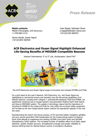 ACR Electronics and Ocean Signal Highlight Enhanced Life-Saving Benefits of MEOSAR-Compatible Beacons