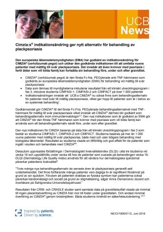 Cimzia:s indikationsändring ger nytt alternativ för behandling av plackpsoriasis