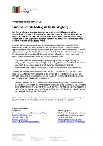 Europas största MMA-gala till Helsingborg