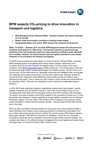 BPW expects CO2-pricing to drive innovation in transport and logistics