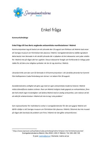Enkel fråga angående antisemitiska manifestationer i Malmö