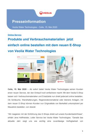 Produkte und Verbrauchsmaterialien  jetzt einfach online bestellen mit dem neuen E-Shop von Veolia Water Technologies