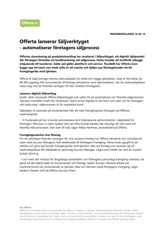 Offerta lanserar Säljverktyget  - automatiserar företagens säljprocess