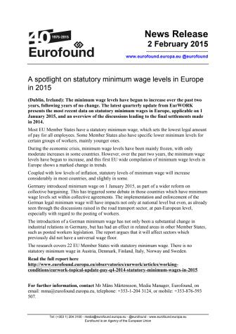 A spotlight on statutory minimum wage levels in Europe in 2015
