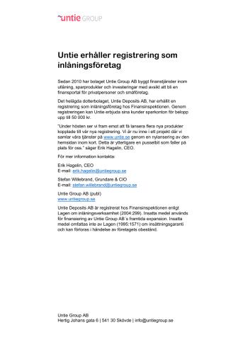 Untie erhåller registrering som inlåningsföretag