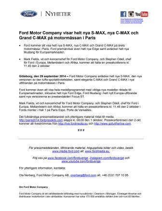 Ford Motor Company visar helt nya S-MAX, nya C-MAX och Grand C-MAX på motormässan i Paris