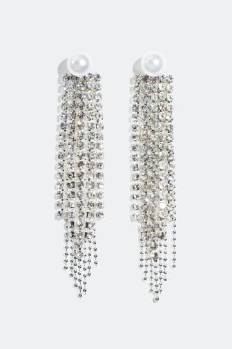 Øredobber, strasslenker med hvit perle