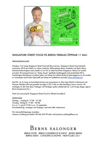 SINGAPORE STREET FOOD PÅ BERNS TERRASS ÖPPNAR 11 MAJ