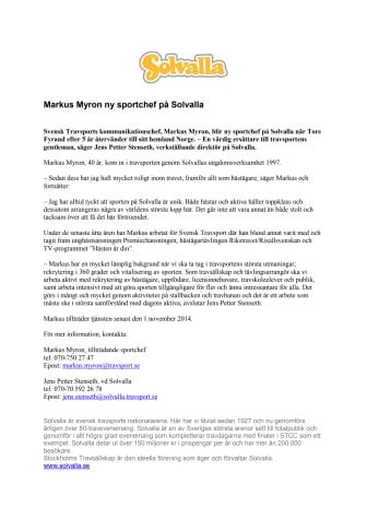 Markus Myron ny sportchef på Solvalla