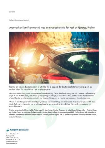 Arom-dekor Kemi kommer nå med en ny produktserie for vask av kjøretøy, Proline
