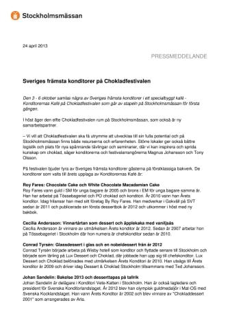 Sveriges främsta konditorer på Chokladfestivalen