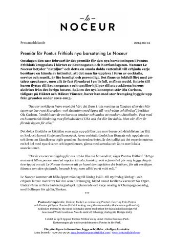 Le Noceur - Nytt barkoncept i Pontus Frithiofs krogpalats
