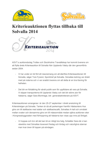 Kriterieauktionen flyttas tillbaka till Solvalla 2014