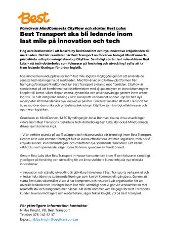 Förvärvar MindConnects CityFlow och startar Best Labs: Best Transport ska bli ledande inom last mile på innovation och tech