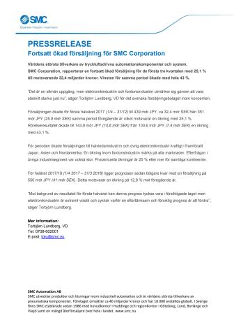 Fortsatt ökad försäljning för SMC Corporation