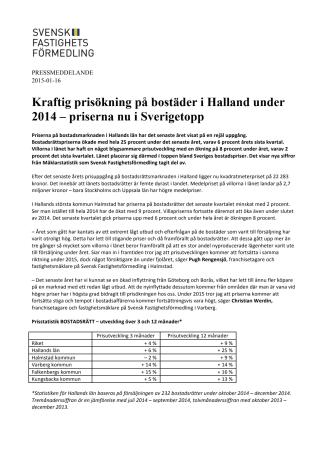 Kraftig prisökning på bostäder i Halland under 2014 – priserna nu i Sverigetopp
